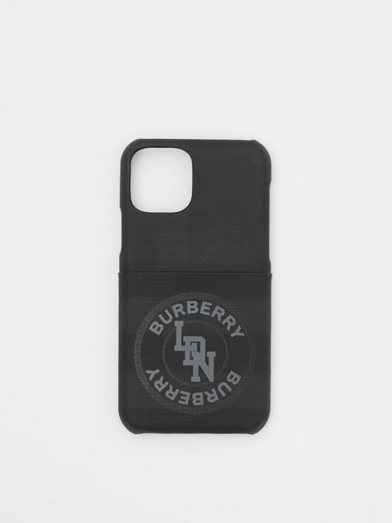 Logo Graphic London Check iPhone 11 Pro Case in Dark Charcoal