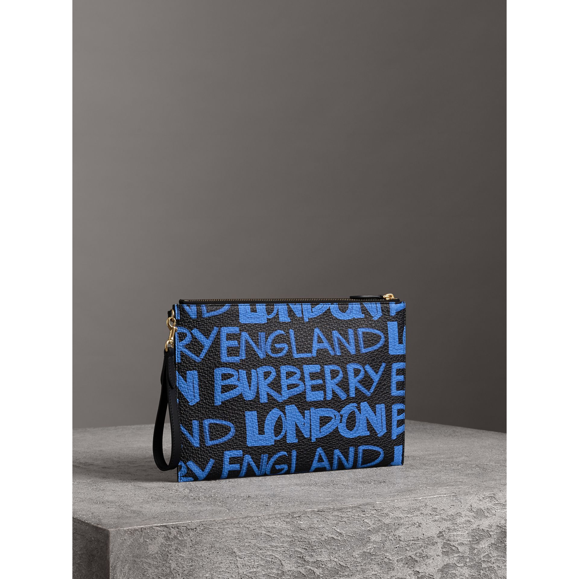 Graffiti Print Leather Zip Pouch in Blue/black | Burberry United Kingdom - gallery image 4
