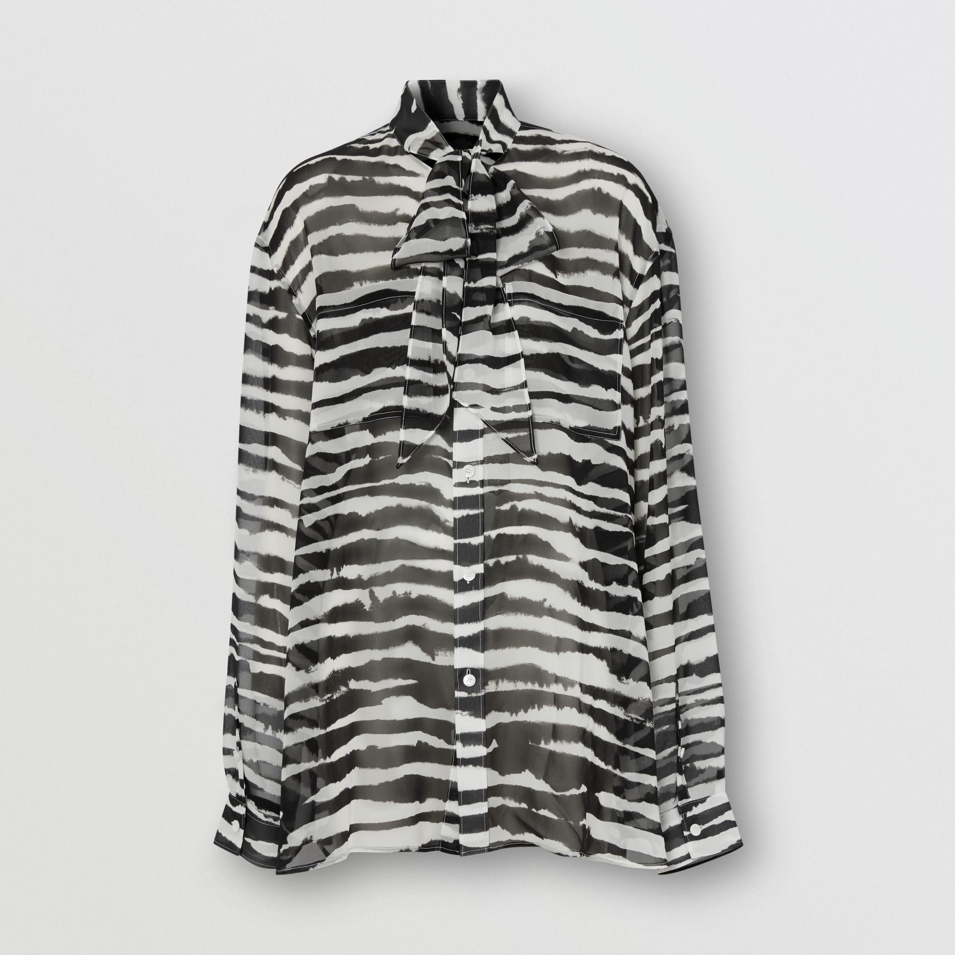 Watercolour Print Silk Chiffon Pussy-bow Blouse in Black/white - Women | Burberry United Kingdom - gallery image 2