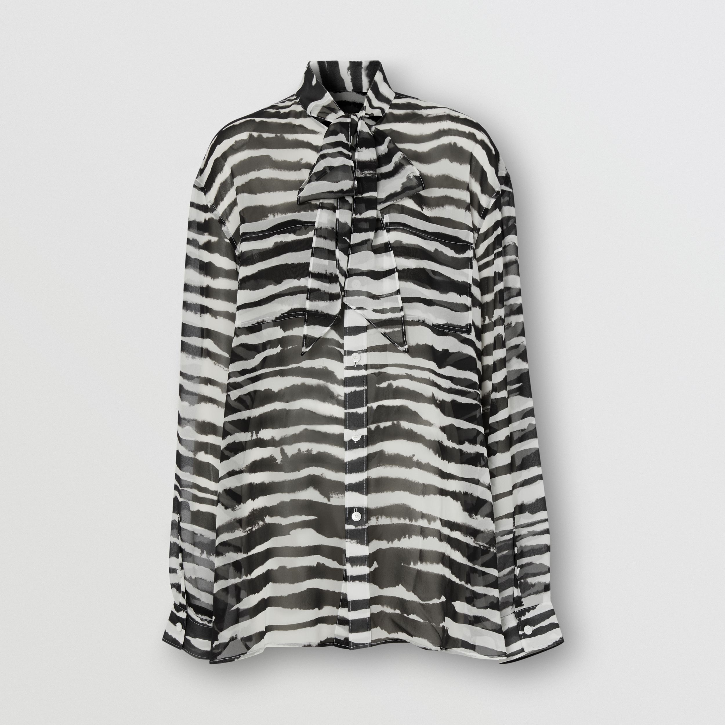 Watercolour Print Silk Chiffon Pussy-bow Blouse in Black/white - Women | Burberry Australia - 3