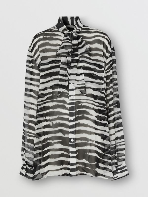 Watercolour Print Silk Chiffon Pussy-bow Blouse in Black/white - Women | Burberry United Kingdom - cell image 2