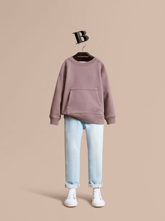 Pigment-dyed Cotton Jersey Sweatshirt in Dusty Mauve - Boy | Burberry