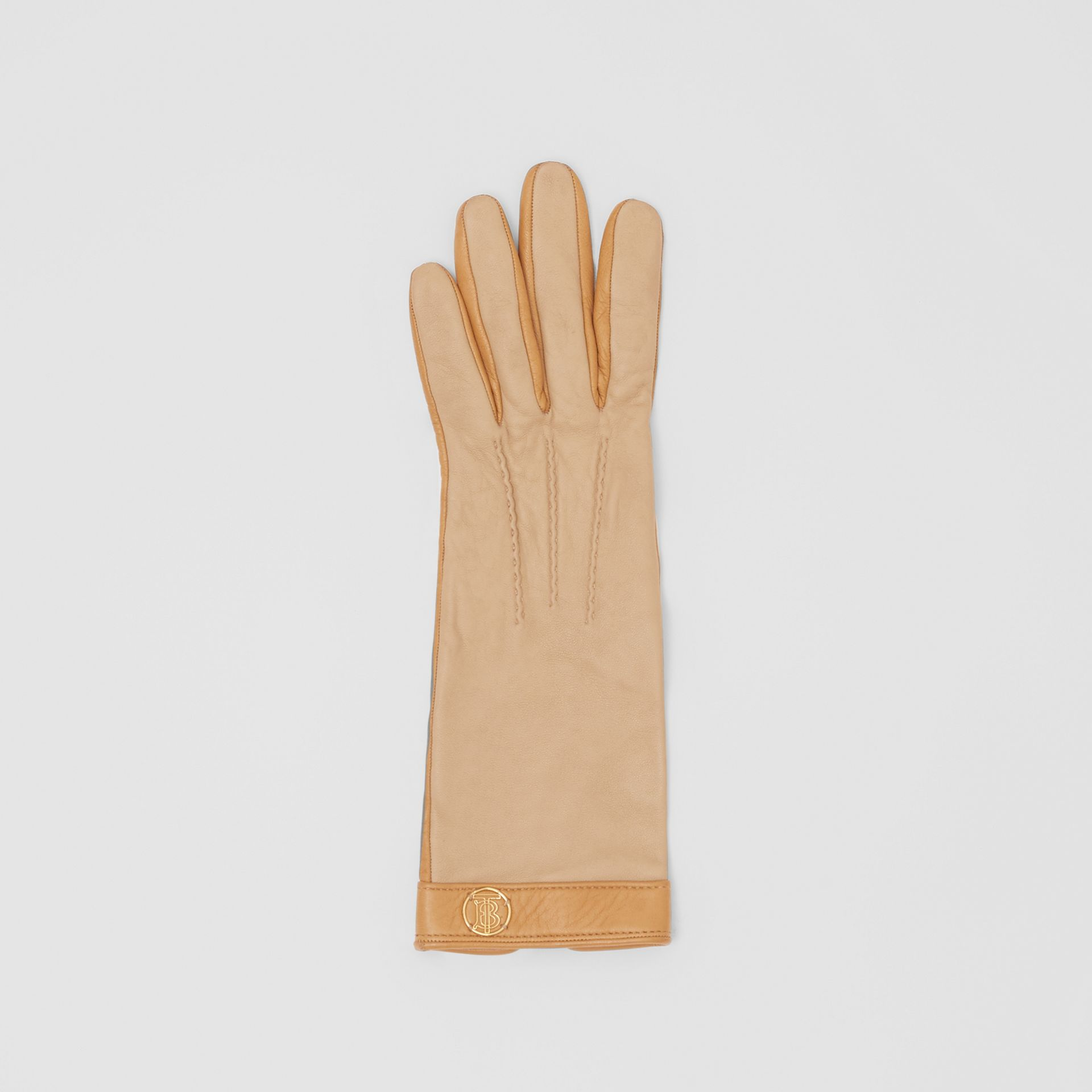 Silk-lined Two-tone Lambskin Gloves in Stone - Women | Burberry - gallery image 2