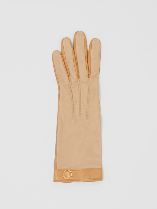 Silk-lined Two-tone Lambskin Gloves in Stone - Women | Burberry - cell image 2