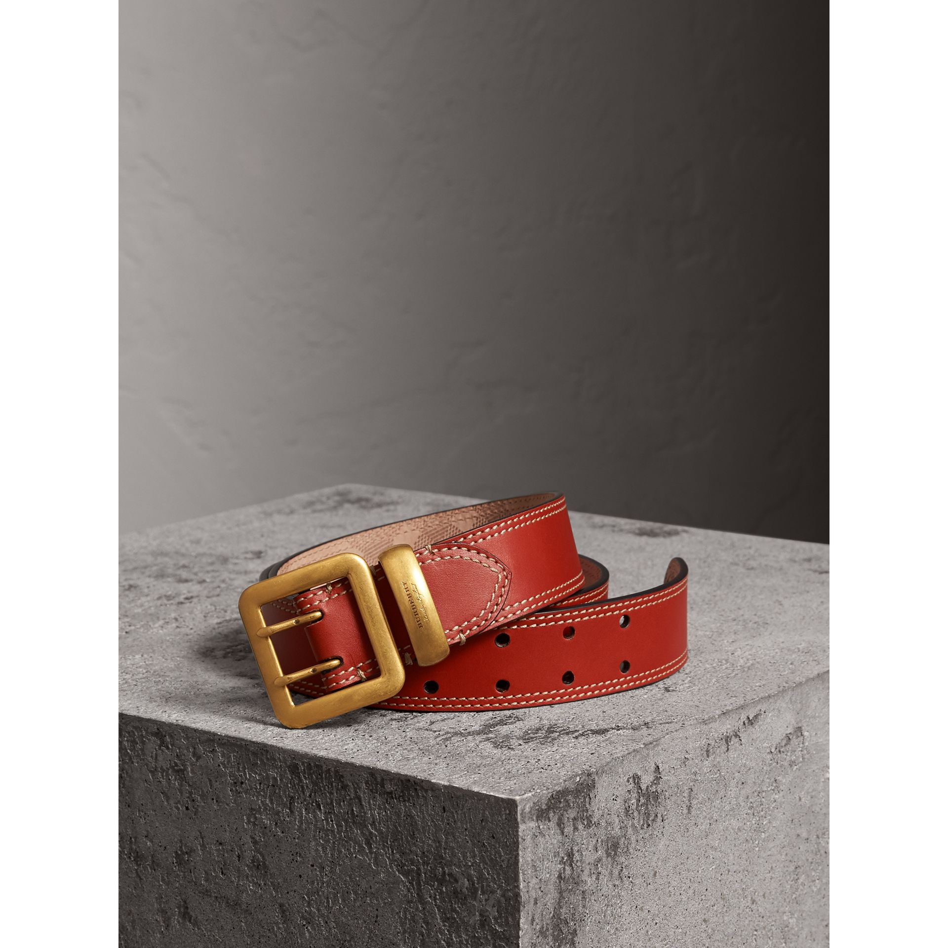 Topstitch Detail Leather Belt in Burnt Sienna - Women | Burberry - gallery image 1