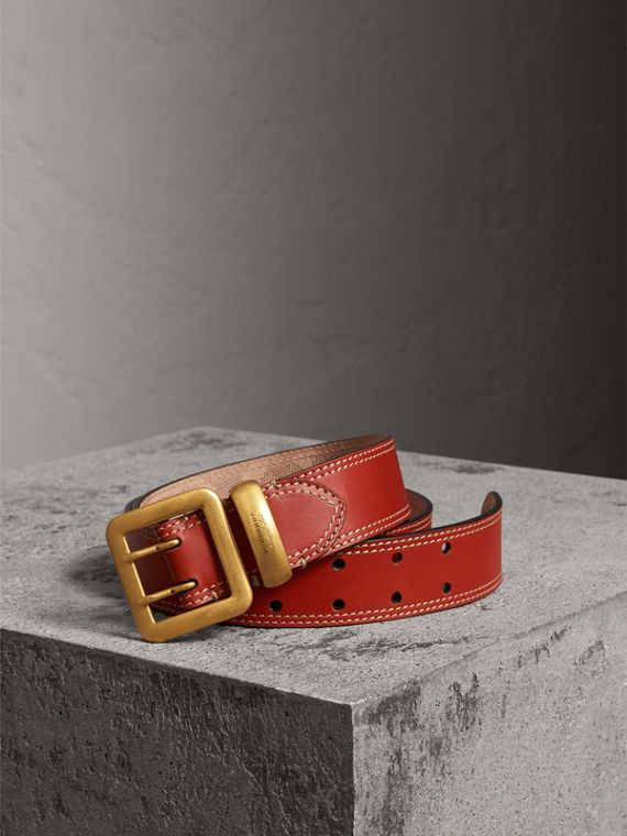 Topstitch Detail Leather Belt in Burnt Sienna