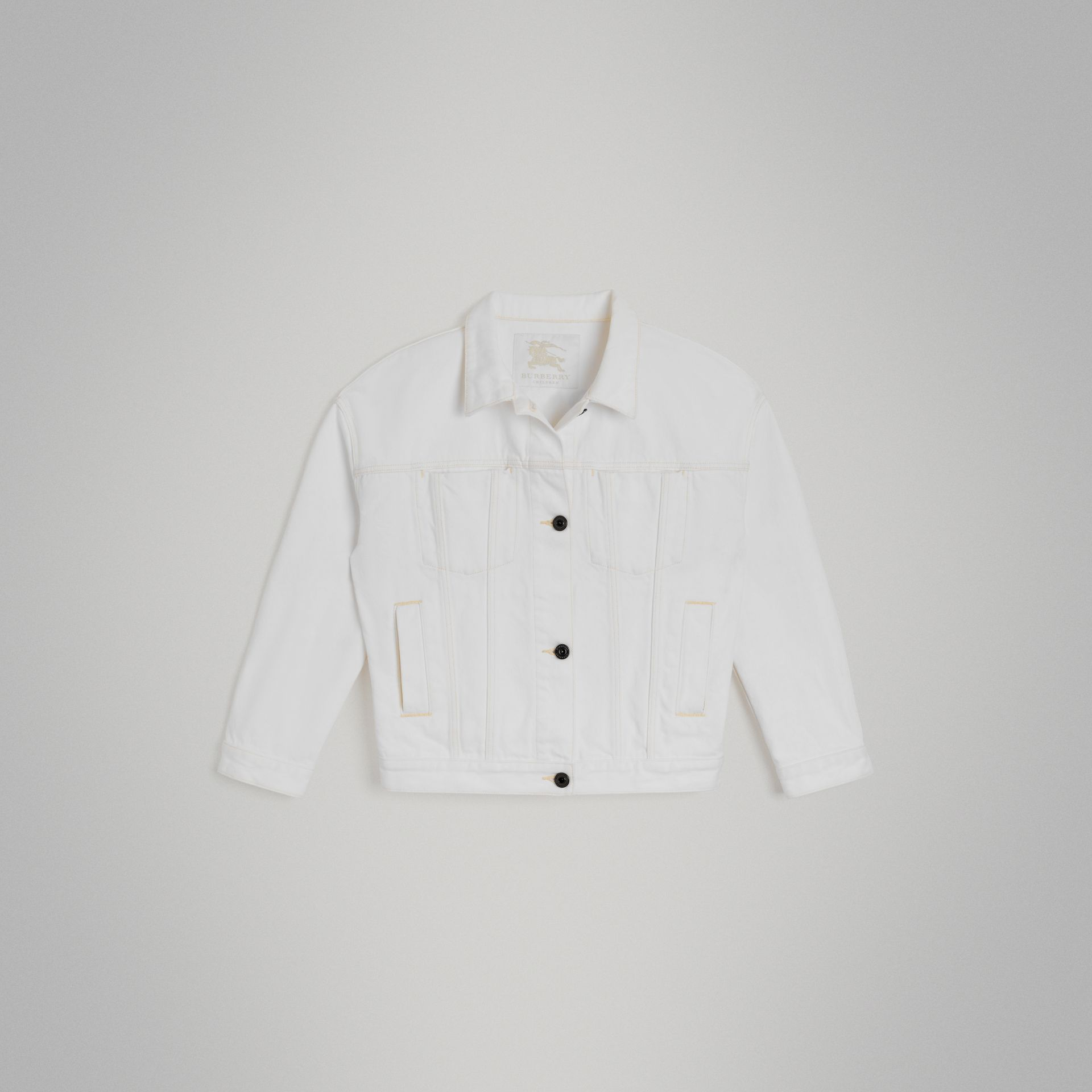 Logo Print Denim Jacket in Natural White | Burberry Canada - gallery image 0