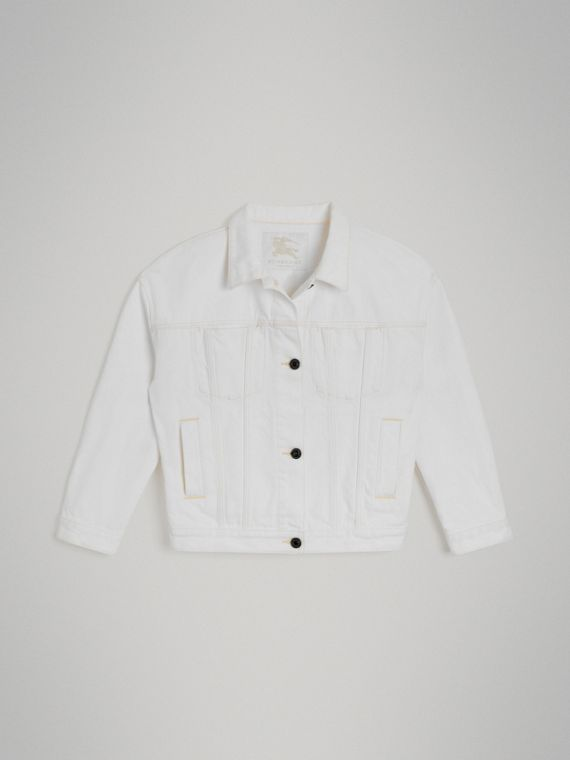 Logo Print Denim Jacket in Natural White