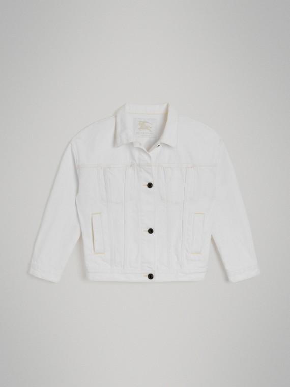 Veste en denim avec logo imprimé (Blanc Naturel)