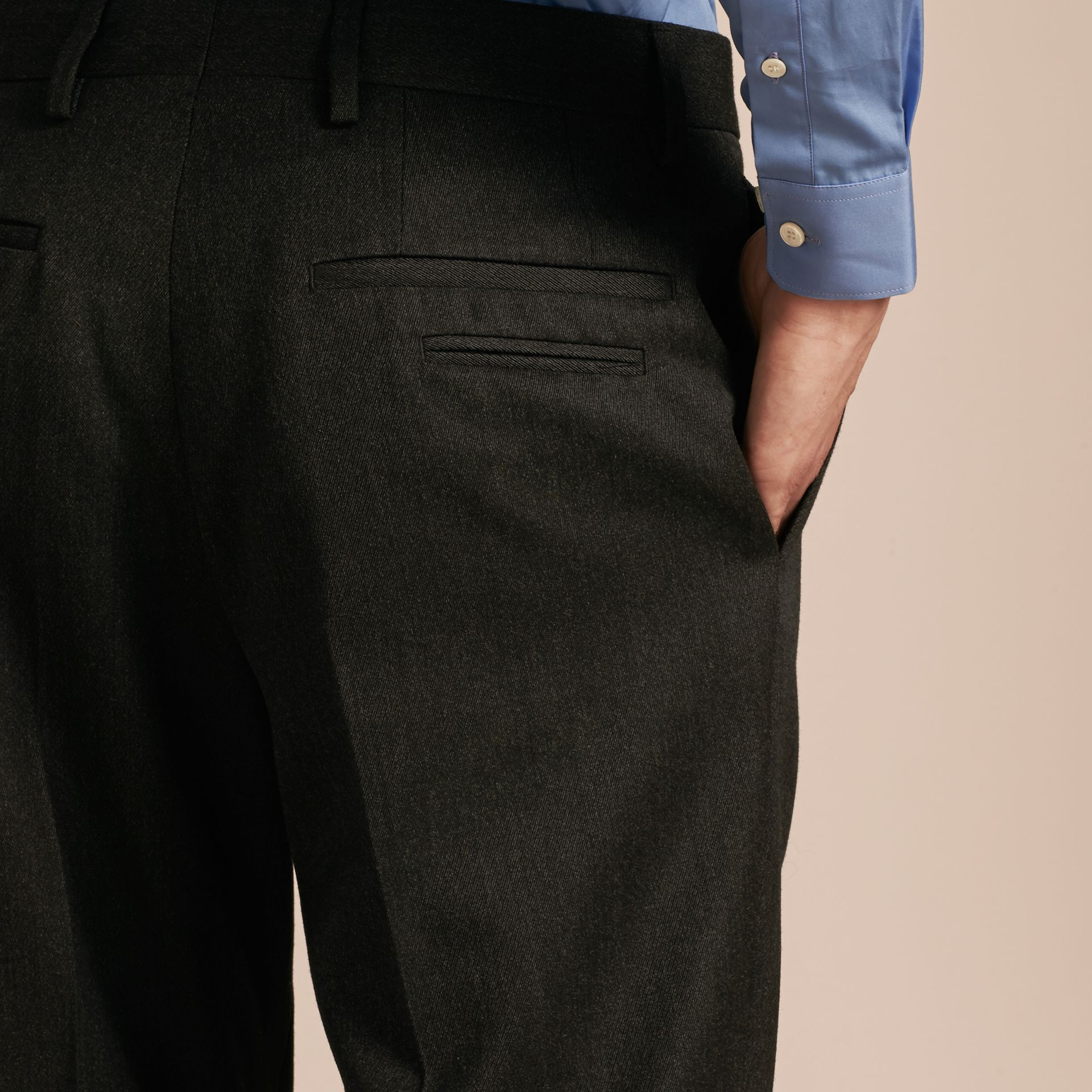 Modern Fit English Wool Tailored Trousers Dark Grey Melange - gallery image 5