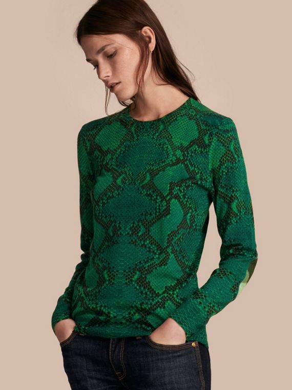 Check Detail Python Print Merino Wool Sweater Pigment Green