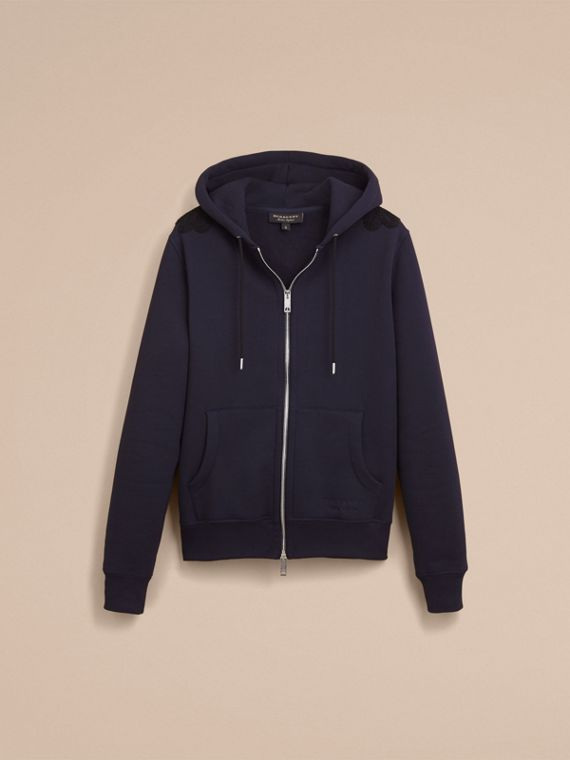 Lace Appliqué Jersey Hooded Top in Dark Navy - Men | Burberry - cell image 3