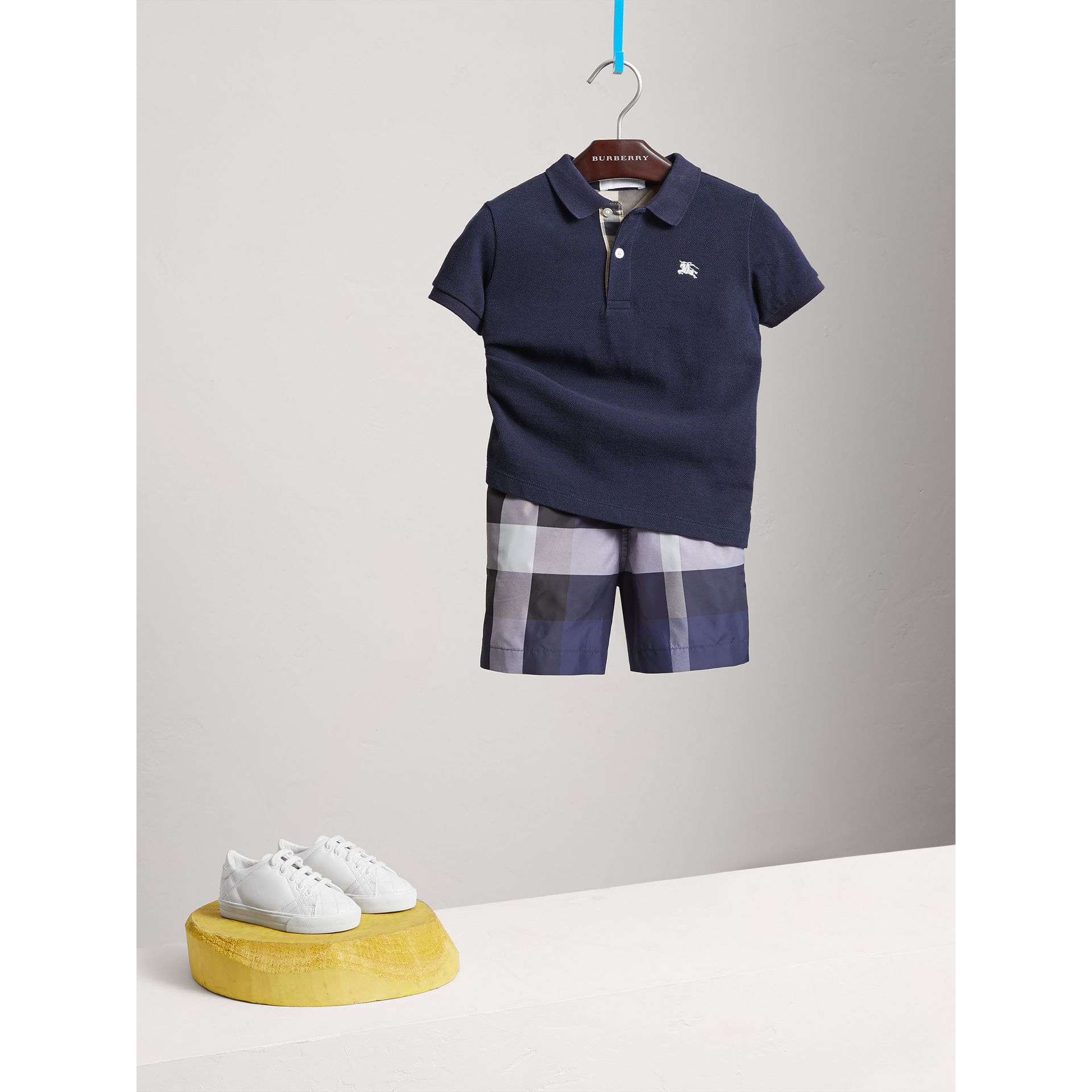 Check Placket Polo Shirt in True Navy - Boy | Burberry - gallery image 0