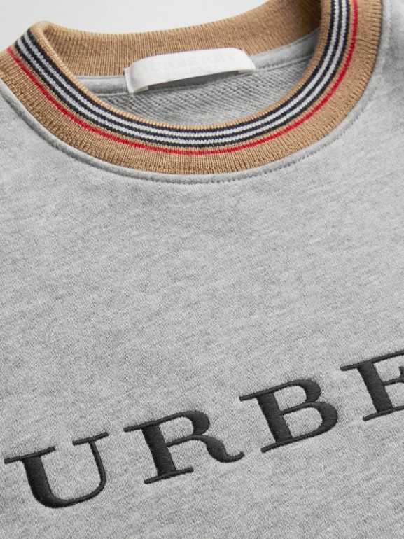 Embroidered Logo Cotton Dress in Grey Melange | Burberry - cell image 1
