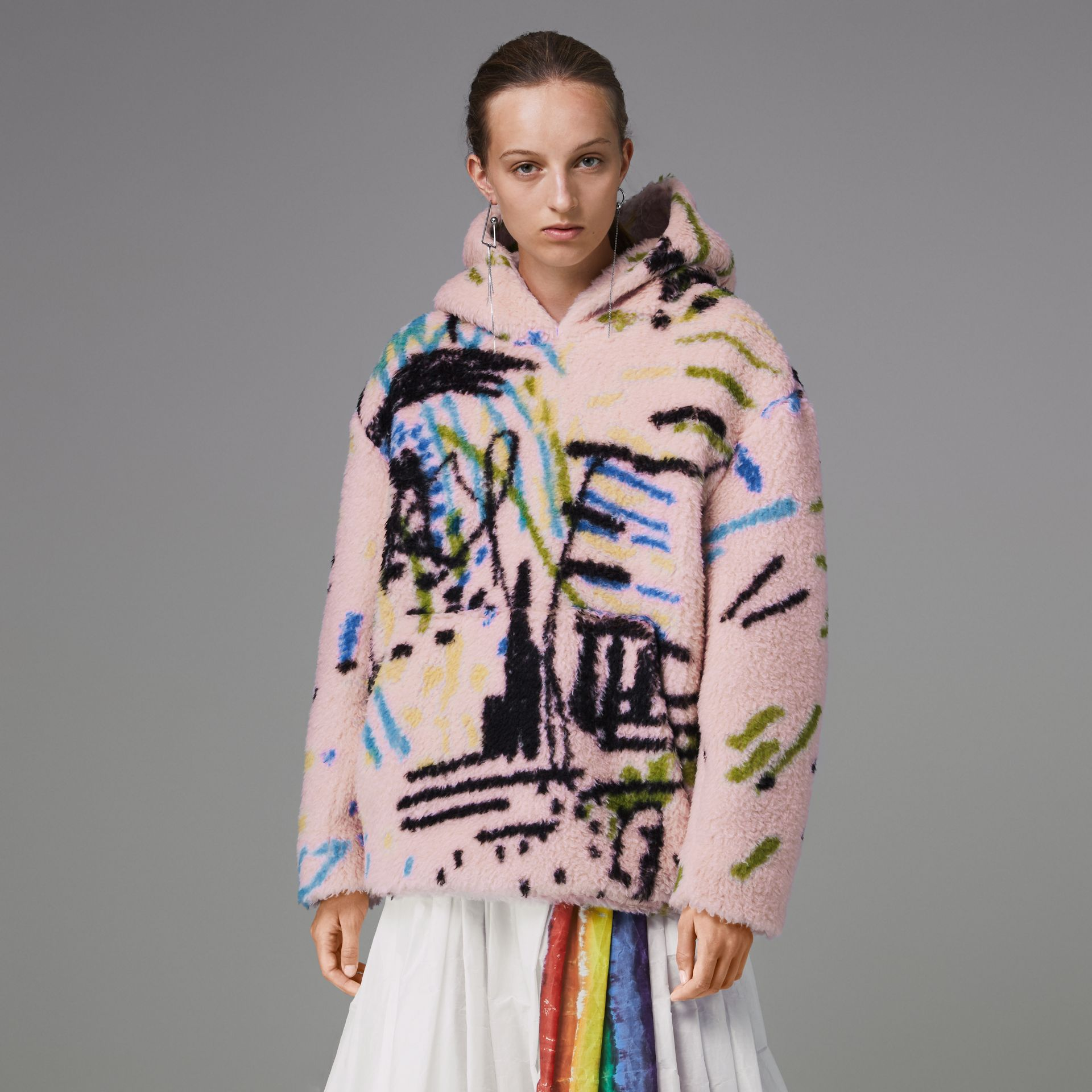 Graffiti Print Cashmere Silk Fleece Hoodie in Pale Rose - Women | Burberry Hong Kong - gallery image 4