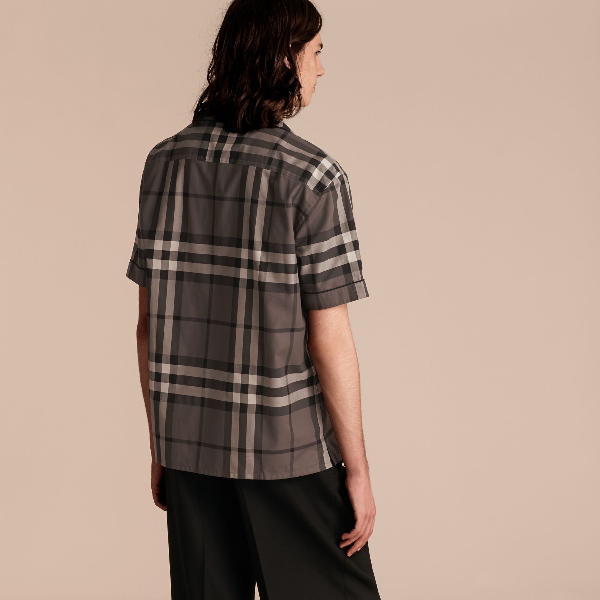 Charcoal Short-sleeved Check Cotton Pyjama-style Shirt - gallery image 3