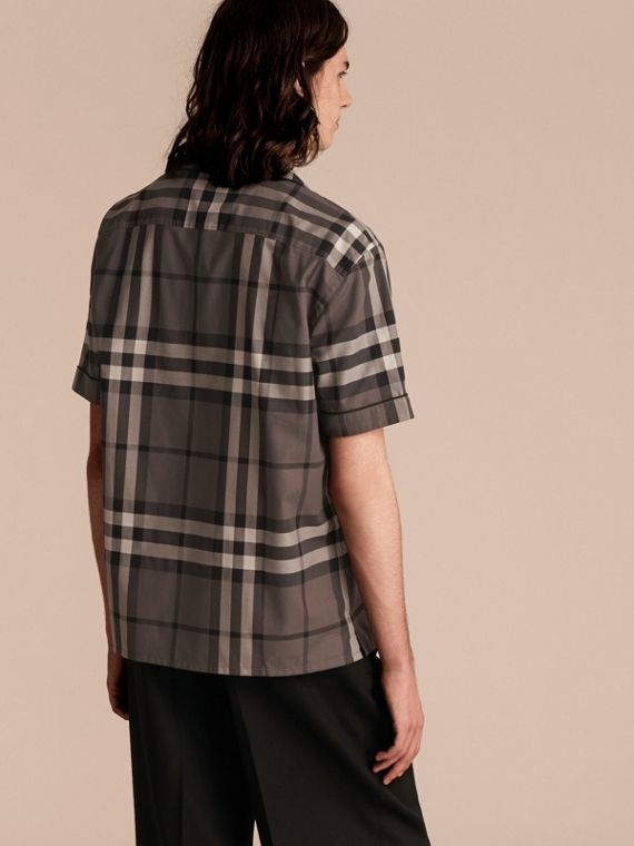 Charcoal Short-sleeved Check Cotton Pyjama-style Shirt - cell image 2