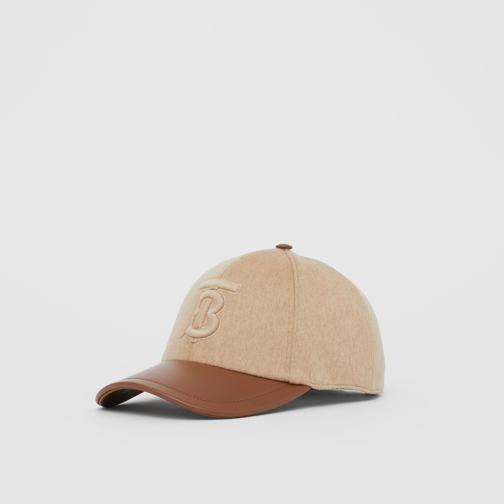 Monogram Motif Cashmere and Leather Baseball Cap in Camel | Burberry Hong Kong S.A.R - gallery image 3