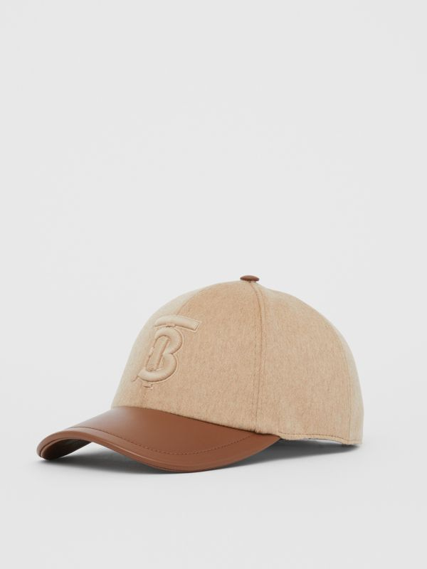 Monogram Motif Cashmere and Leather Baseball Cap in Camel | Burberry Hong Kong S.A.R - cell image 3