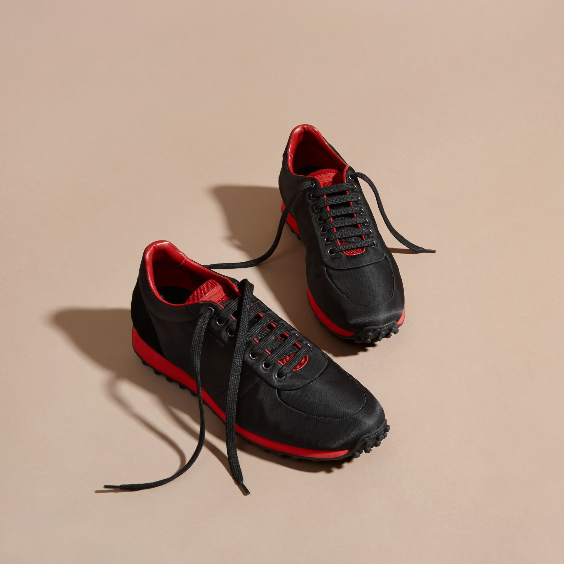 Black/military red Textural Trim Technical Sneakers Black/military Red - gallery image 3