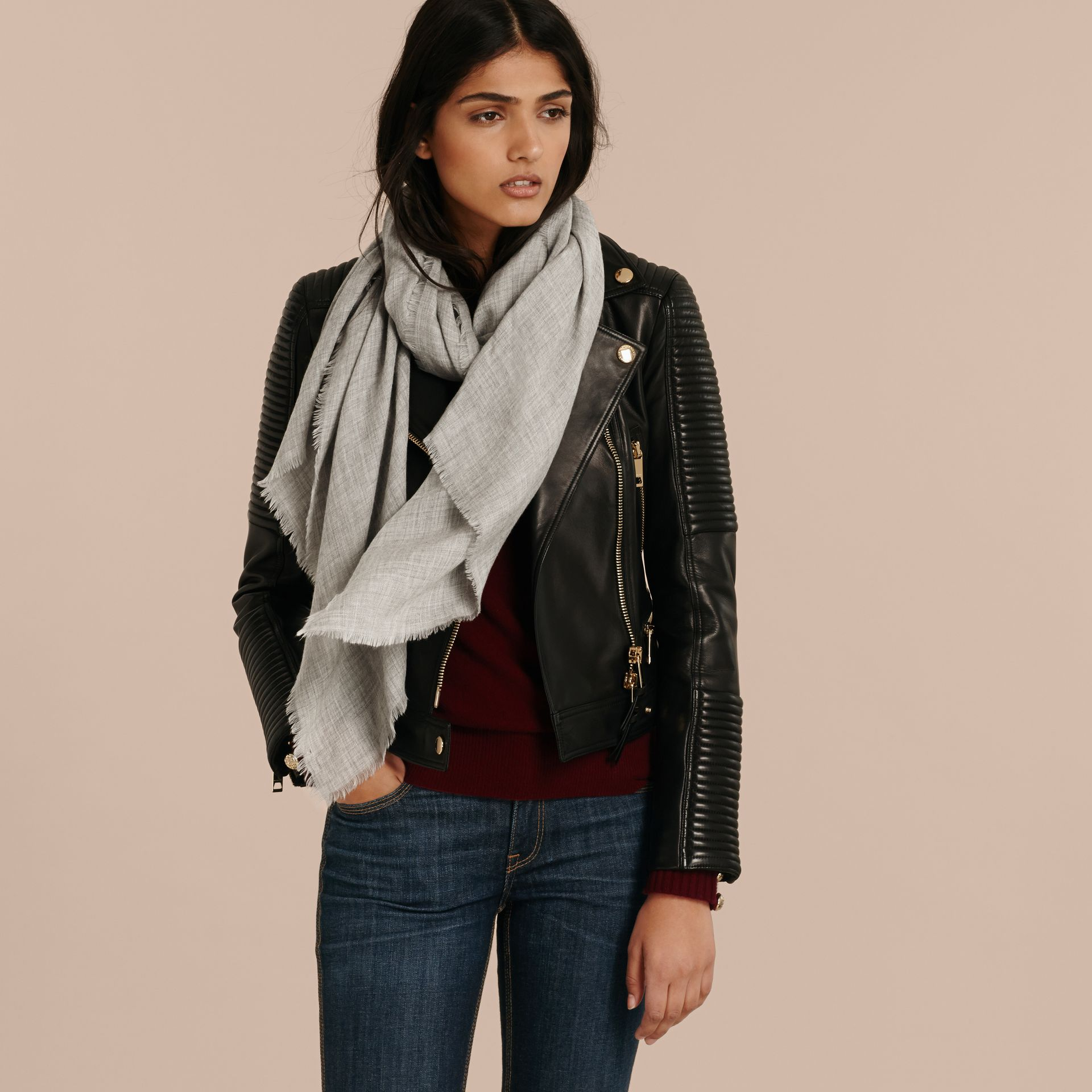 Pale grey The Lightweight Cashmere Scarf Pale Grey - gallery image 3