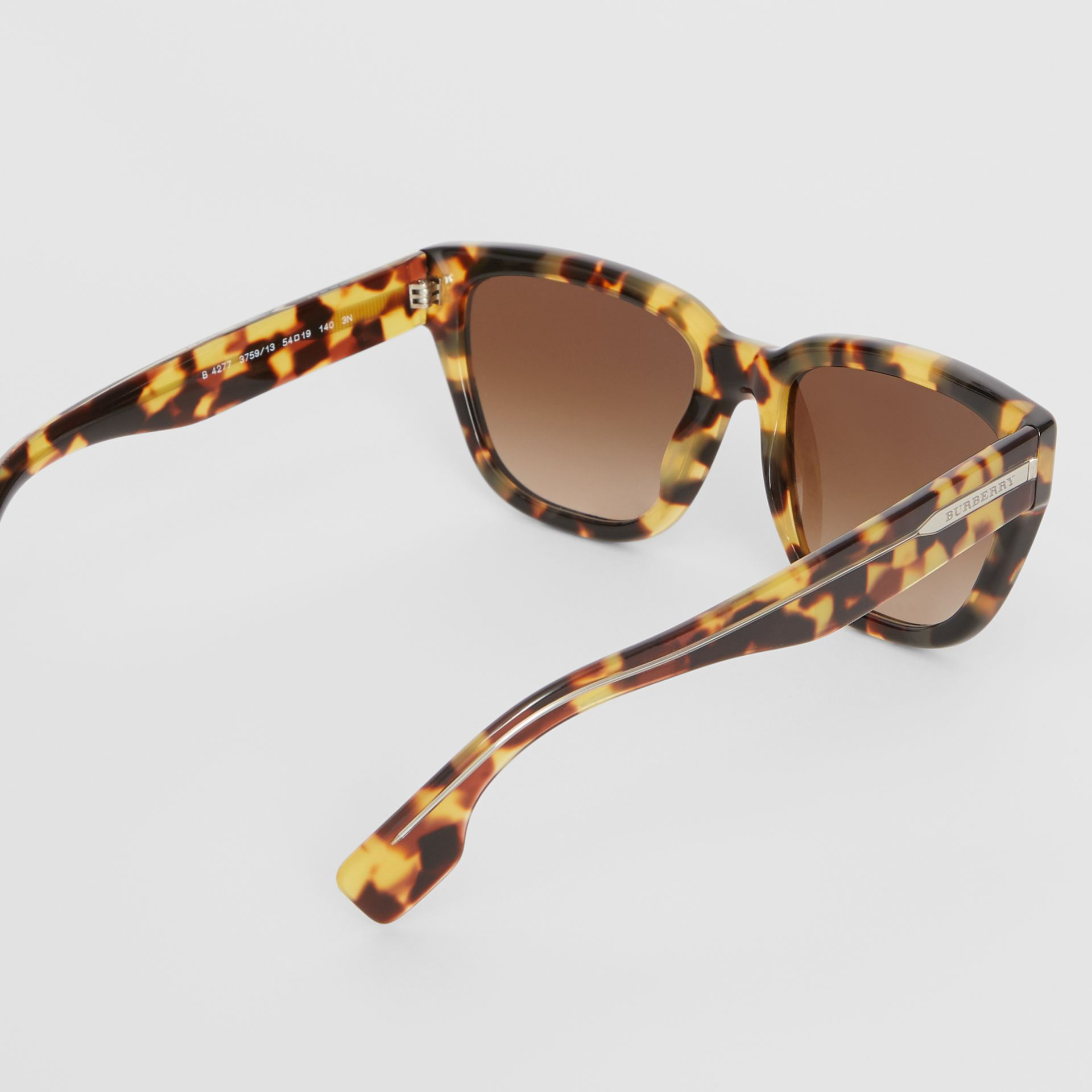 Square Frame Sunglasses in Tortoiseshell - Women | Burberry - gallery image 4