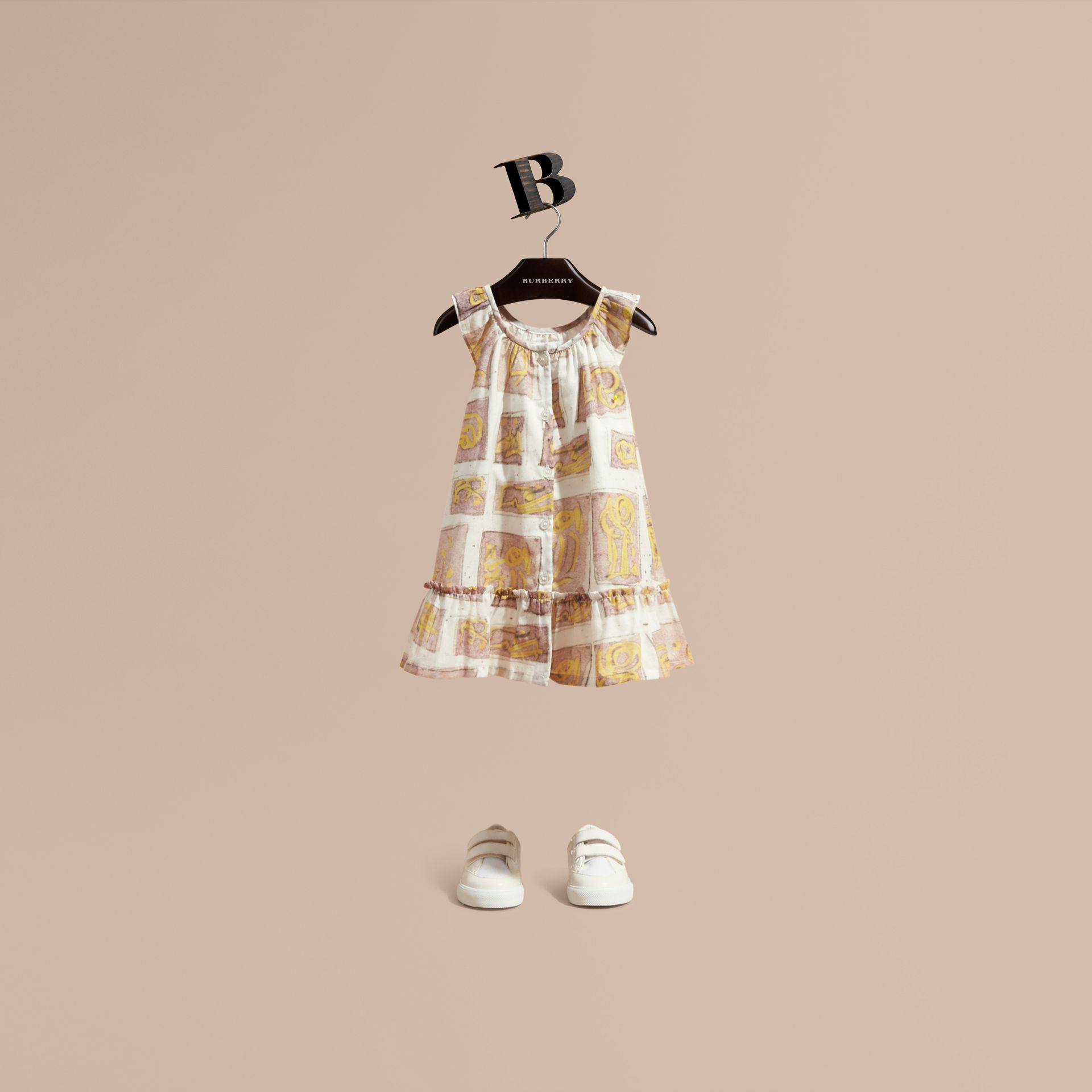 Framed Motifs Print Cotton Dress in Pale Ash Rose | Burberry - gallery image 1