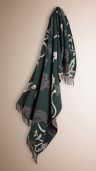 Couverture en laine et cachemire avec motif floral tissé en jacquard