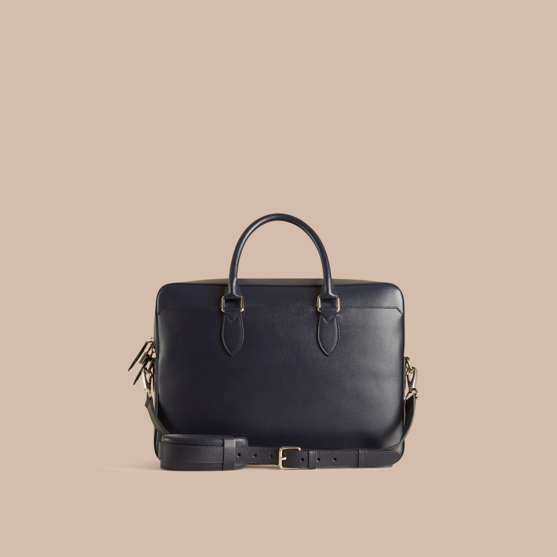 Dark navy Large London Leather Briefcase Dark Navy - gallery image 4