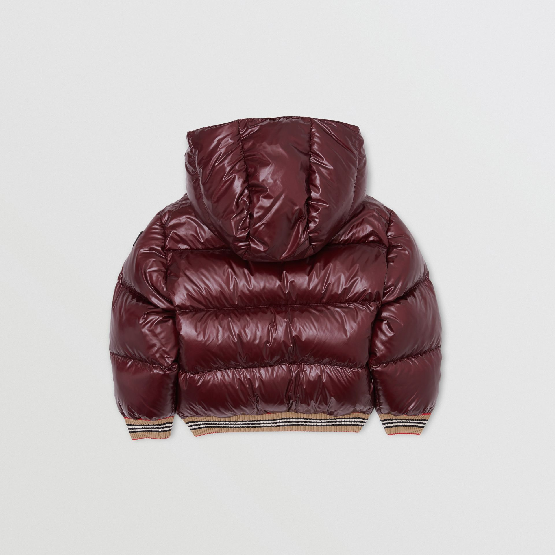 Icon Stripe Detail Hooded Puffer Jacket in Burgundy | Burberry - gallery image 3