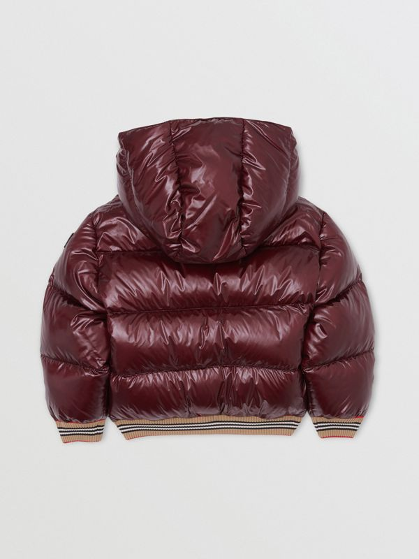 Icon Stripe Detail Hooded Puffer Jacket in Burgundy | Burberry - cell image 3