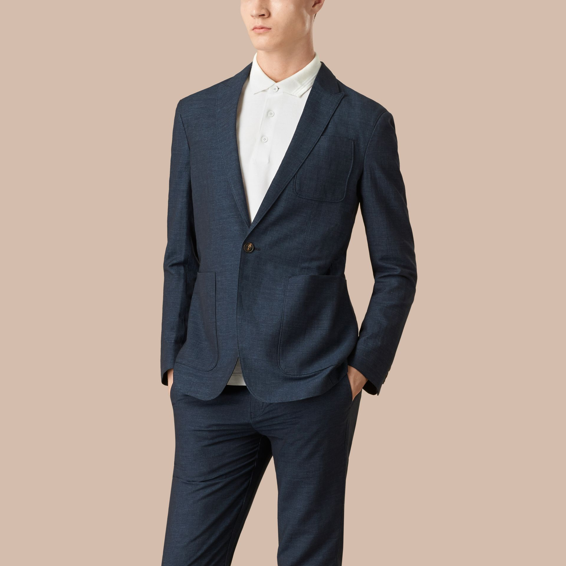 Navy Slim Fit Linen Cotton Blazer - gallery image 4