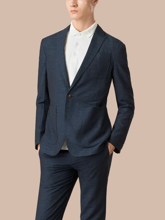 Navy Slim Fit Linen Cotton Blazer - cell image 3