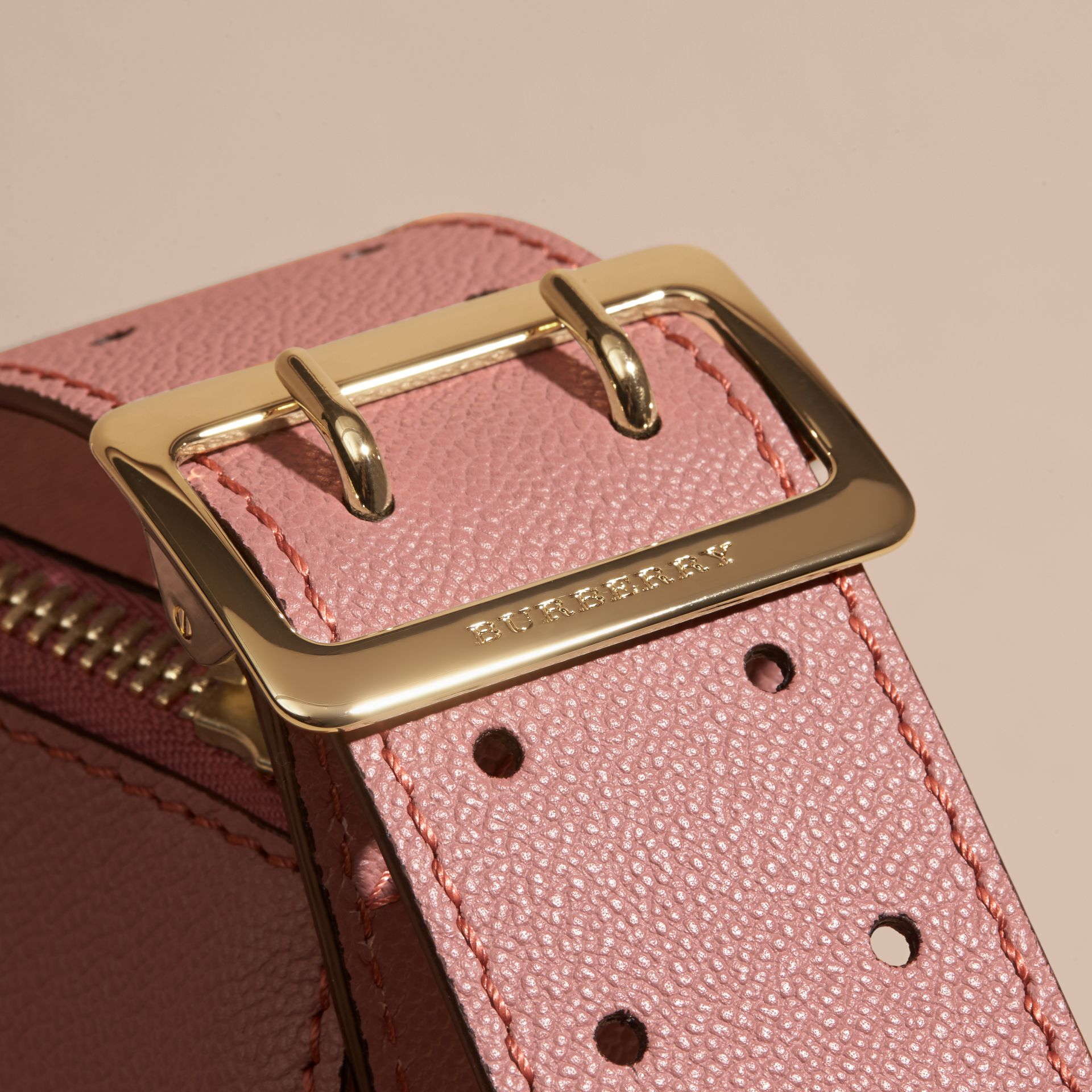 Buckle Detail Leather and House Check Crossbody Bag in Dusty Pink - gallery image 2