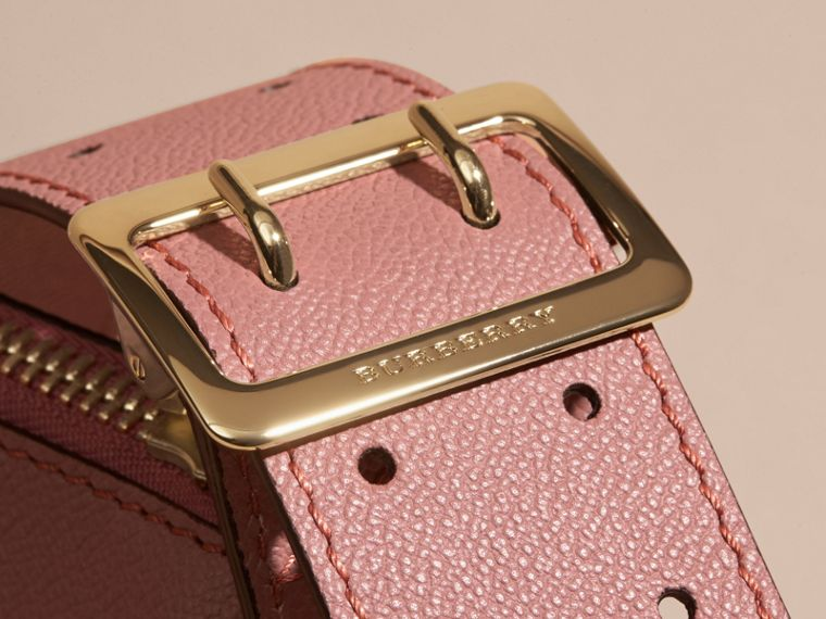 Buckle Detail Leather and House Check Crossbody Bag in Dusty Pink - cell image 1
