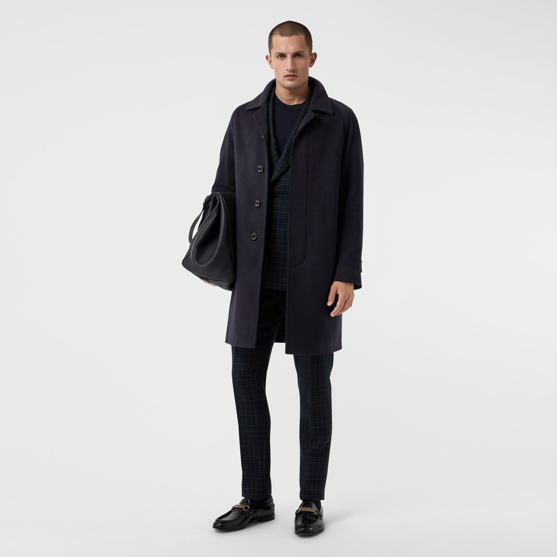 Cashmere Car Coat in Navy - Men | Burberry Singapore - gallery image 0