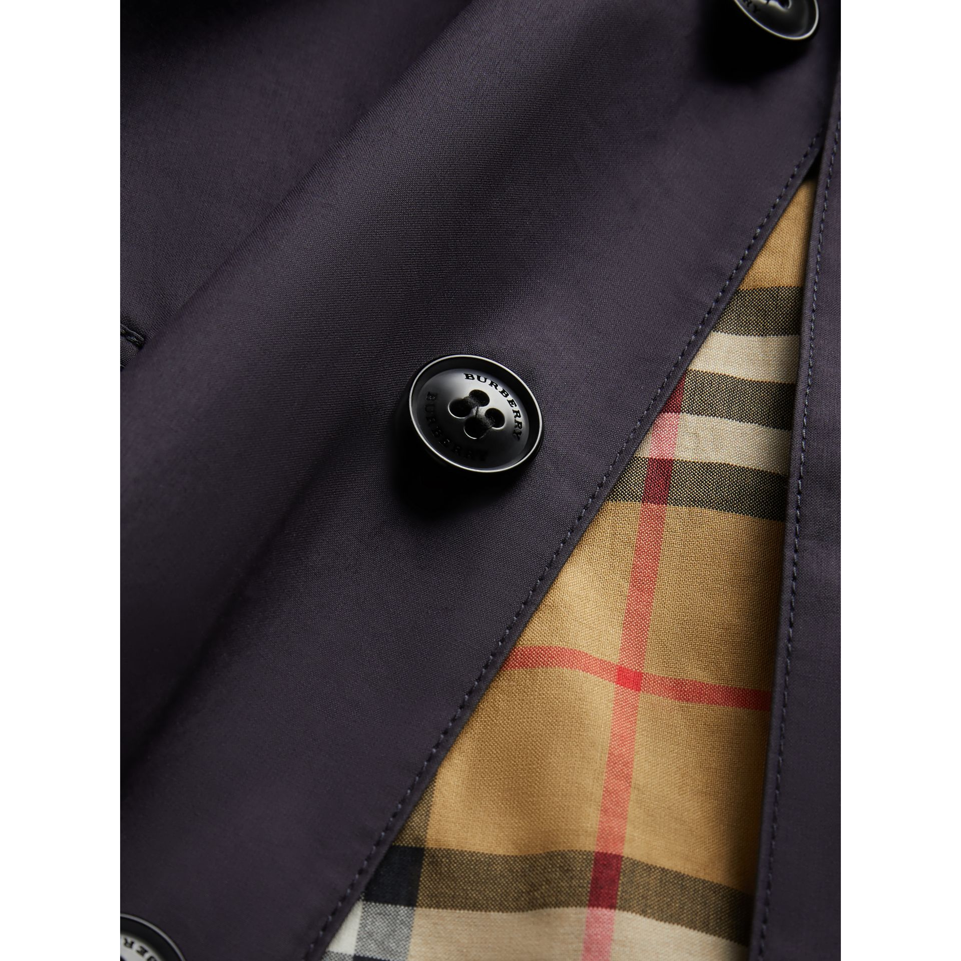 Mercerised Cotton Car Coat in Navy | Burberry - gallery image 1