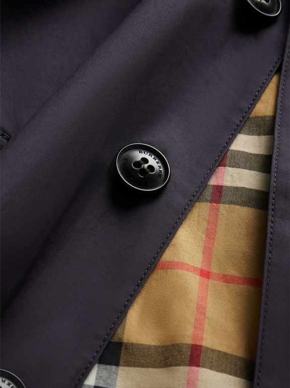 Mercerised Cotton Car Coat in Navy | Burberry Singapore - cell image 1