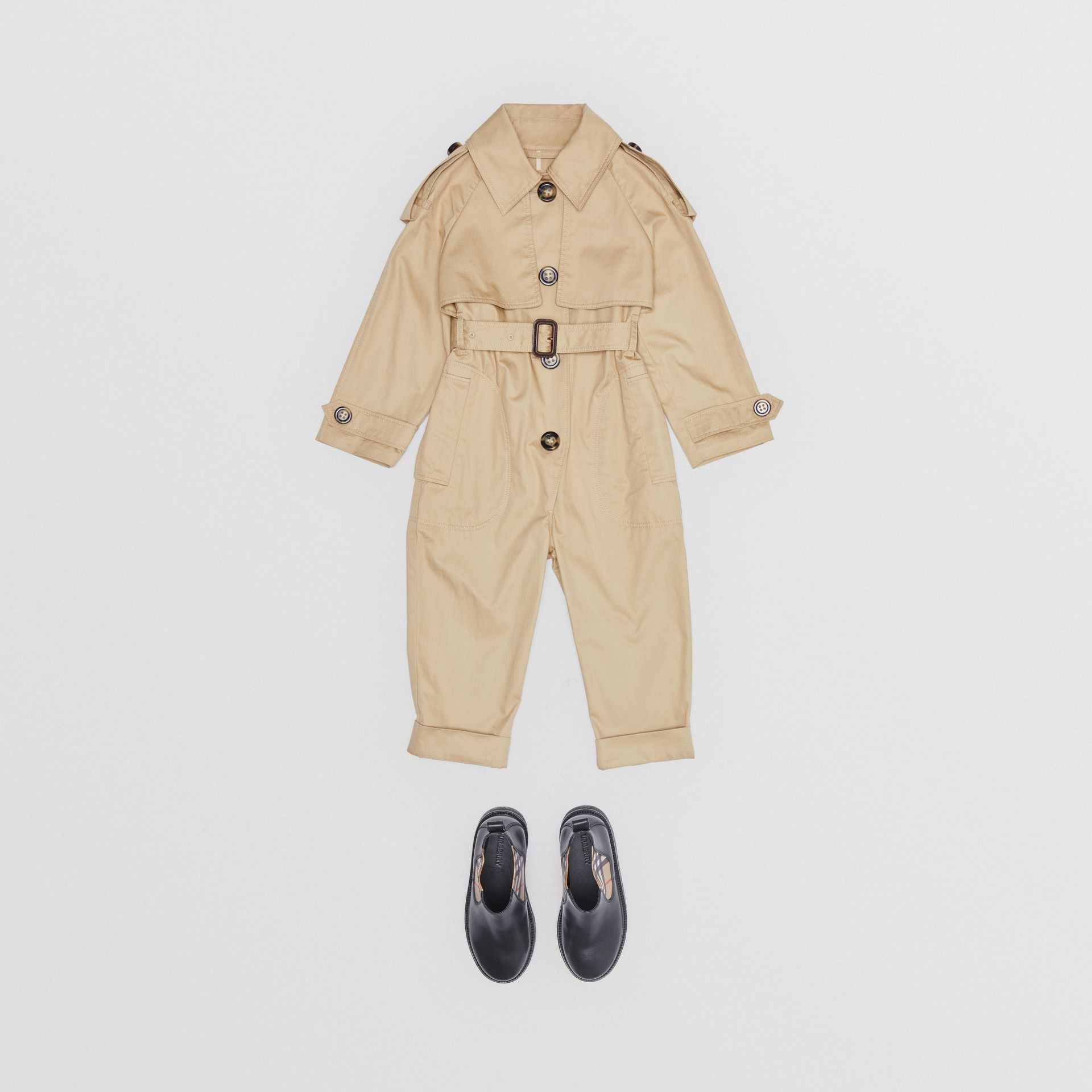 Cotton Trench Jumpsuit in Honey | Burberry - gallery image 2