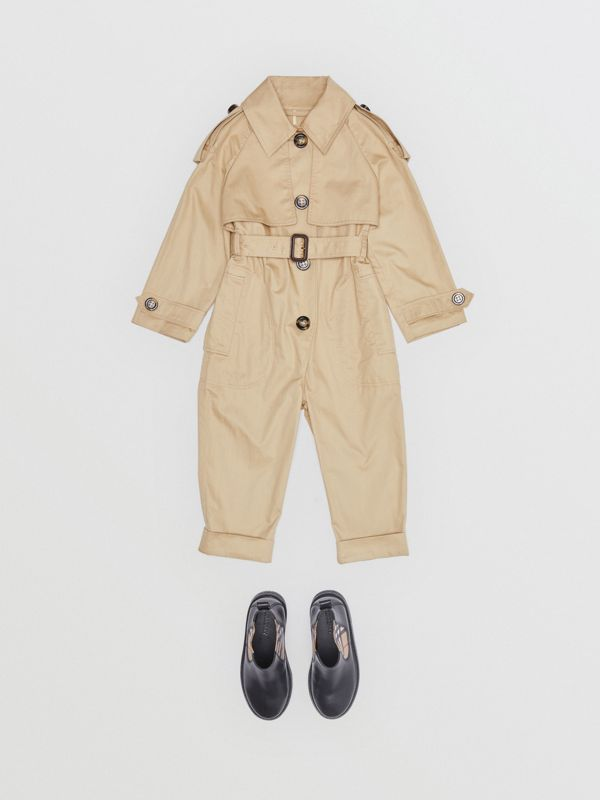 Cotton Trench Jumpsuit in Honey | Burberry - cell image 2