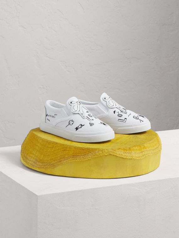 Doodle Print Slip-on Trainers in Optic White