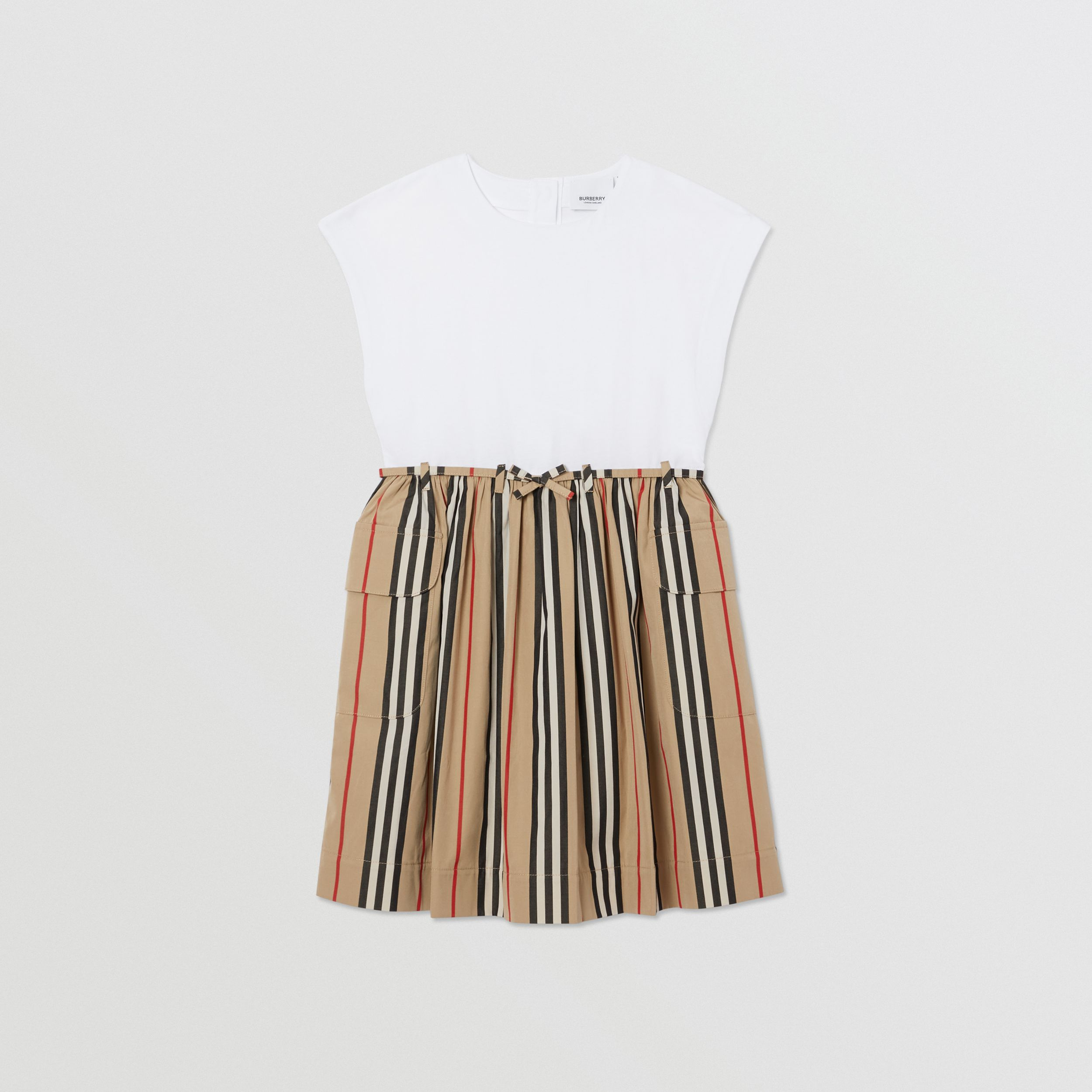 Icon Stripe Cotton Dress in Archive Beige | Burberry United Kingdom - 1