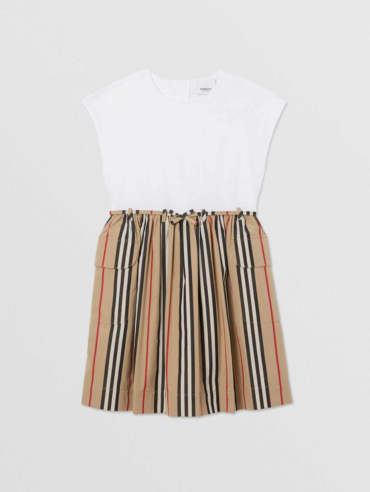 Icon Stripe Cotton Dress in Archive Beige