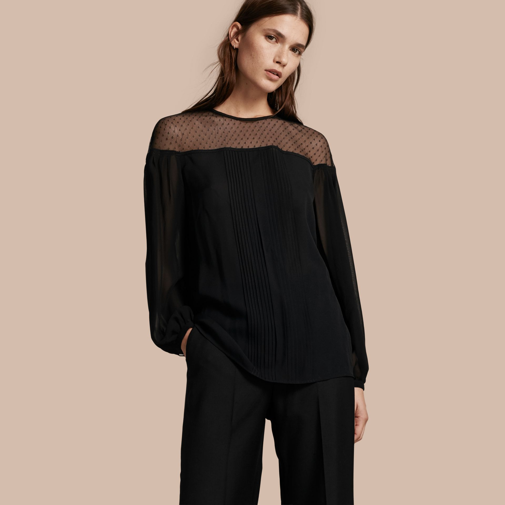 Black Silk Blouse with Net Yoke and Pintuck Detail - gallery image 1