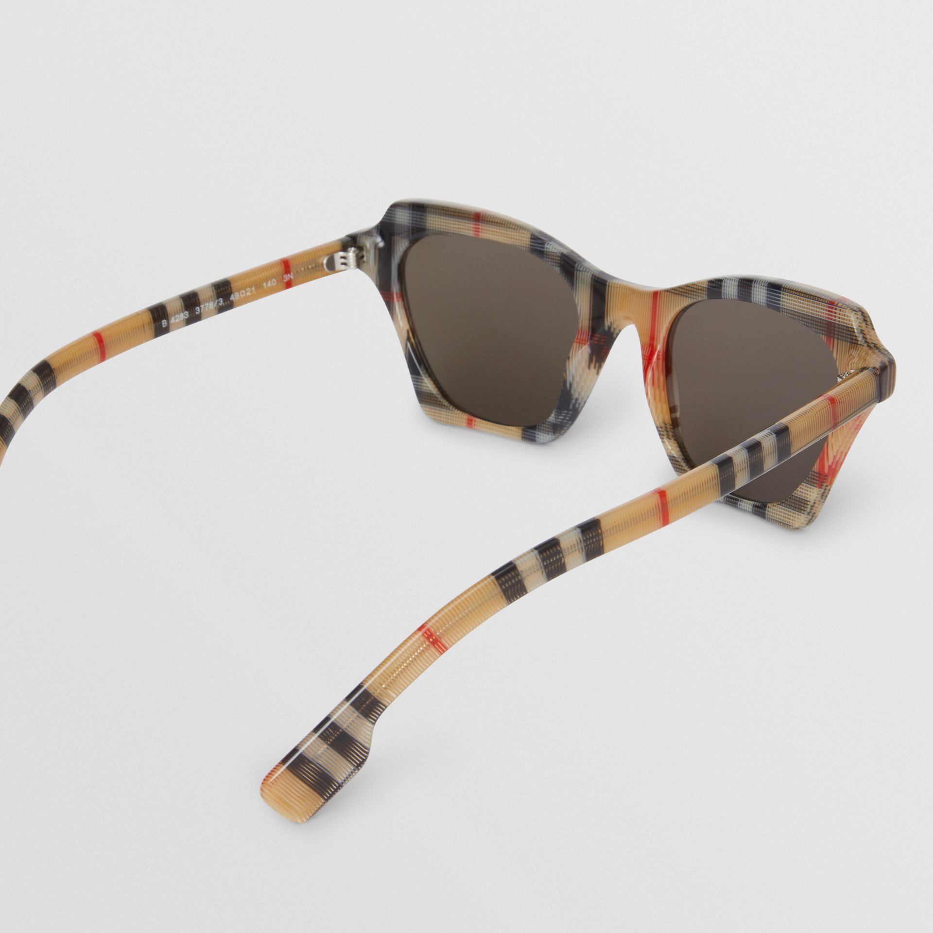 Vintage Check Butterfly Frame Sunglasses in Antique Yellow - Women | Burberry Hong Kong - gallery image 4