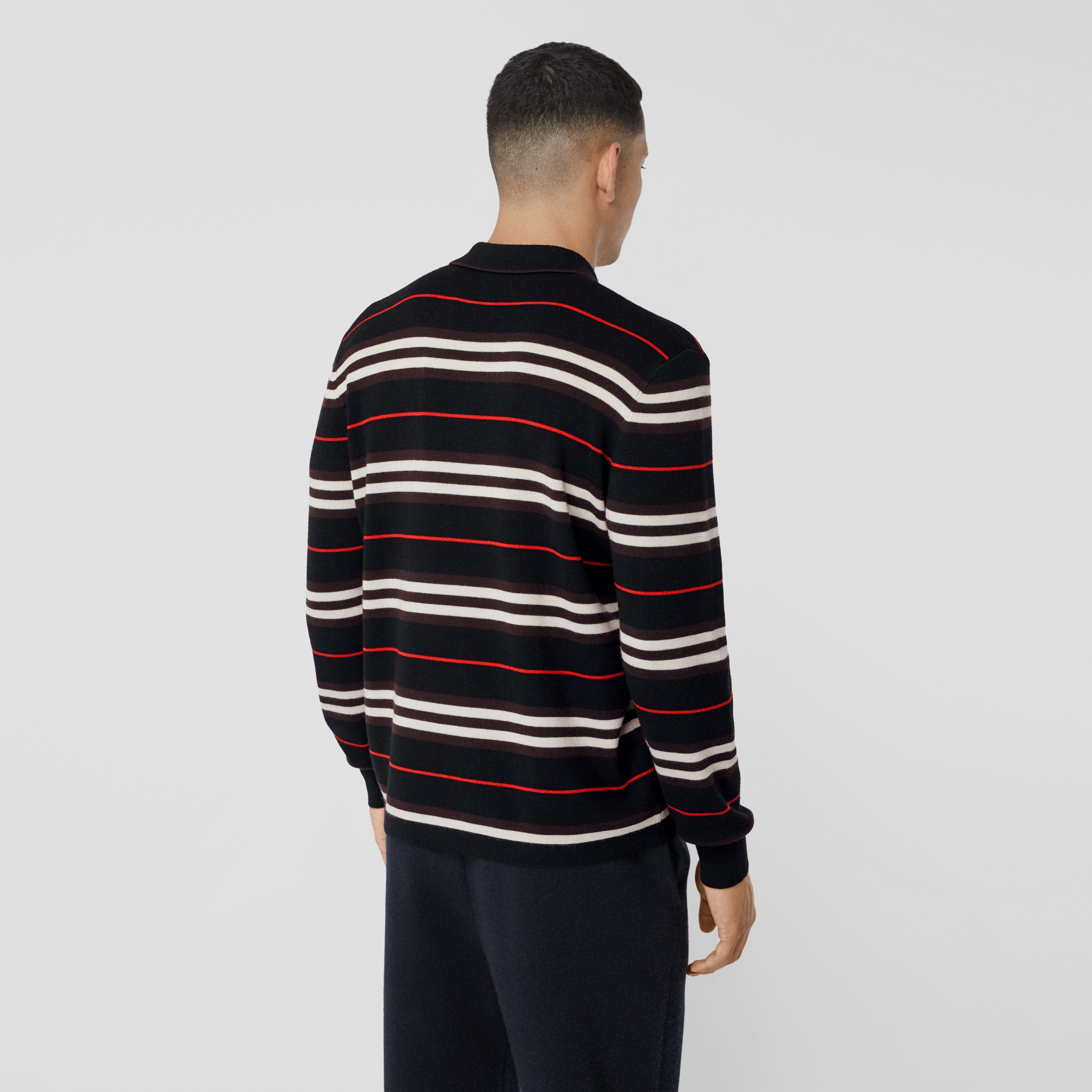 Long-sleeve Icon Stripe Merino Wool Polo Shirt in Black - Men | Burberry United States - 3