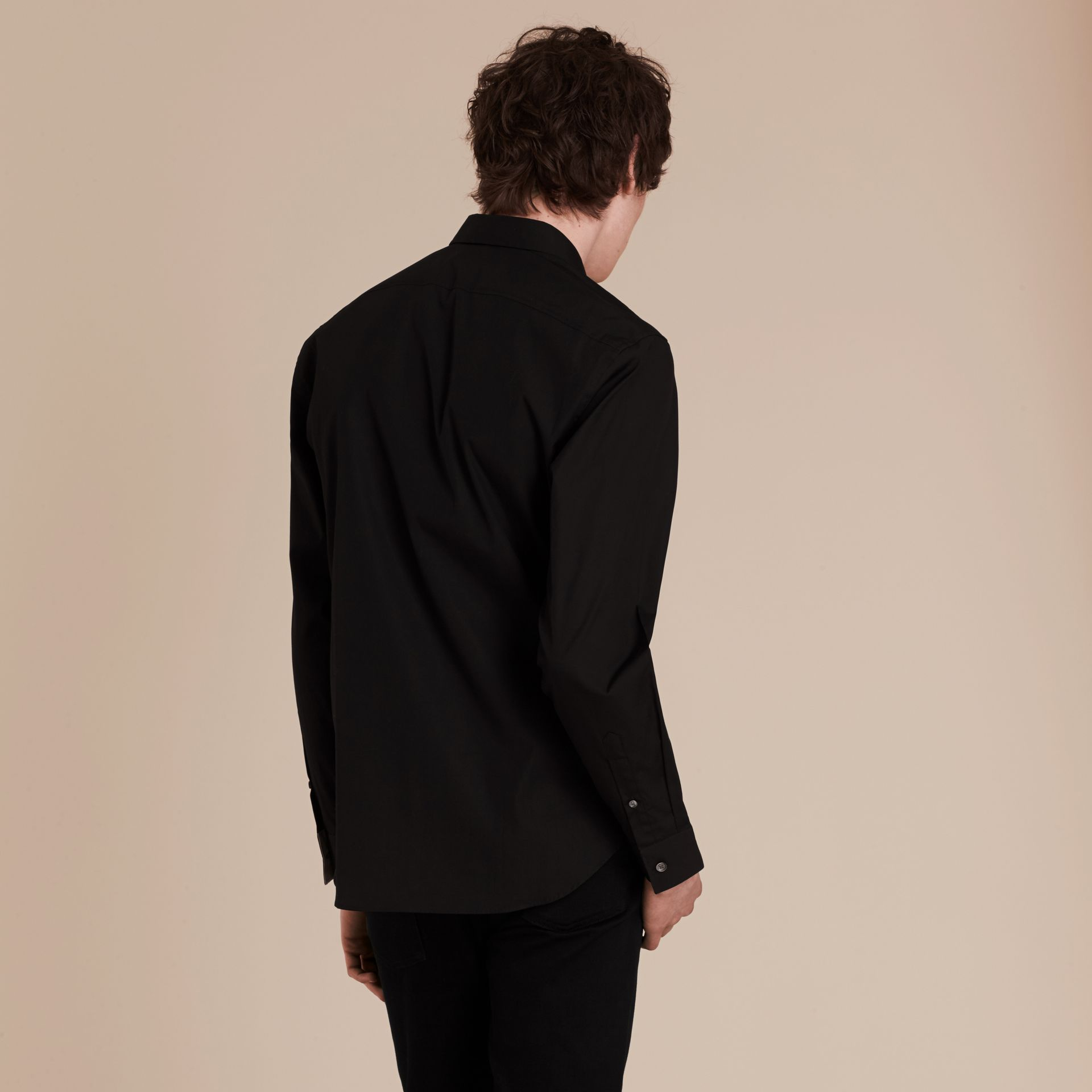Check Detail Stretch Cotton Poplin Shirt in Black - gallery image 3