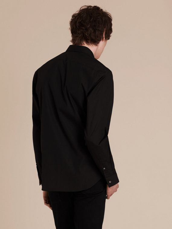 Check Detail Stretch Cotton Poplin Shirt in Black - cell image 2