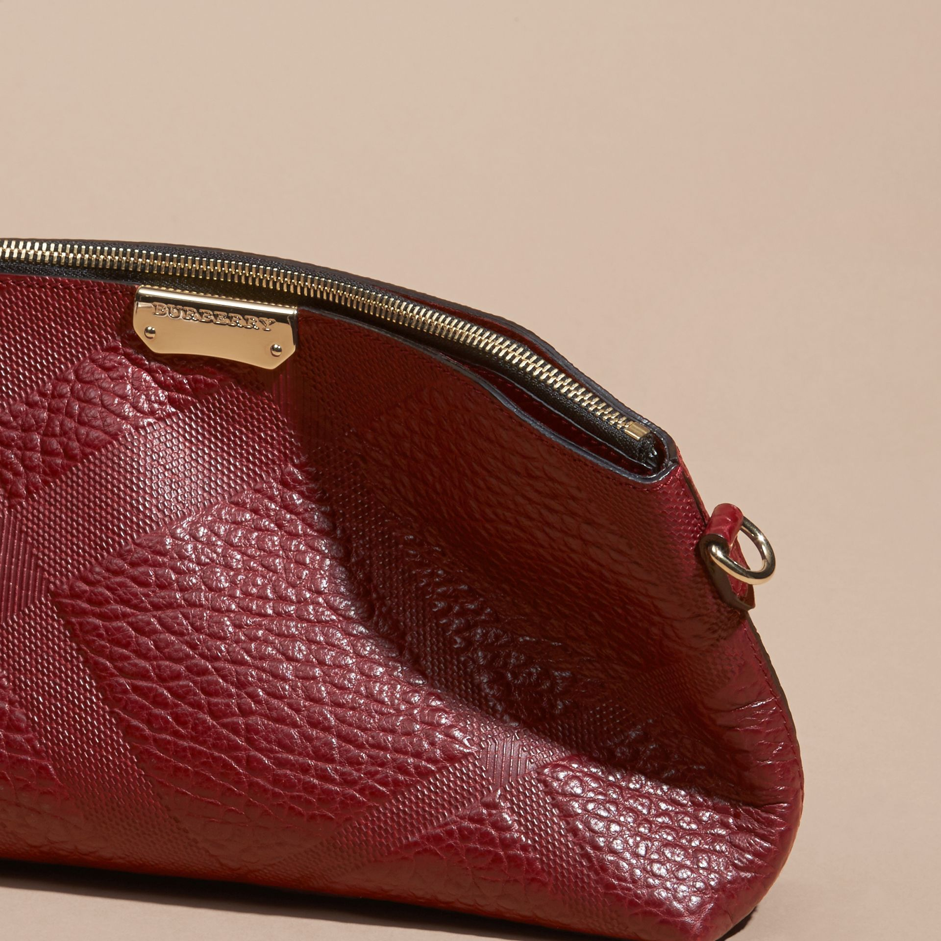 Deep red Small Embossed Check Leather Clutch Bag Deep Red - gallery image 7