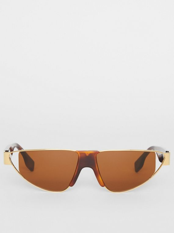 dee09afe5fe8 Gold-plated Triangular Frame Sunglasses in Tortoiseshell